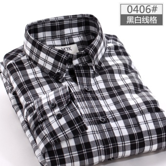 MJX2017 autumn brushed men's plaid shirt long-sleeved Korean-styleTeenager casual bottoming shirt jacket inch (0406 (black and whiteline grid))