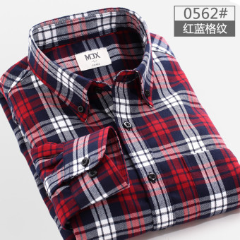 MJX2017 autumn brushed men's plaid shirt long-sleeved Korean-styleTeenager casual bottoming shirt jacket inch (0562 (Red Blue plaid))