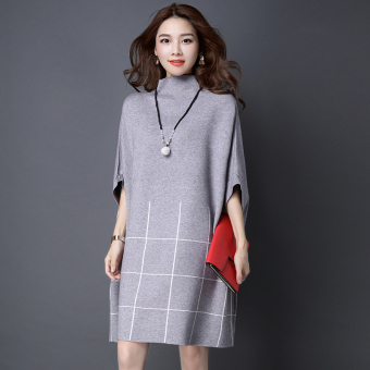MM Plus-sized sweater dress winter sweater (Light gray)