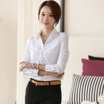 Ms. New style career ol Korean-style chiffon long-sleeved white shirt