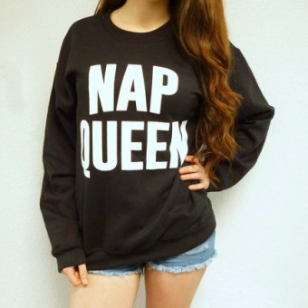 /NAP/European and American style new lettered printed women's hoodie (Black) (Black)