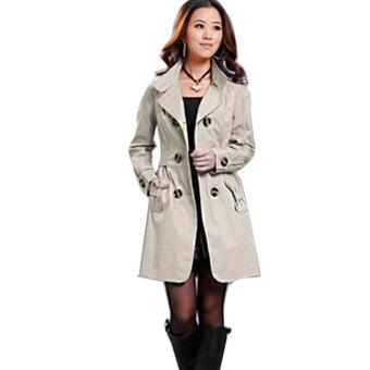 New Fashion Womens Slim Fit Trench Double-breasted Coat JacketOutwear - intl