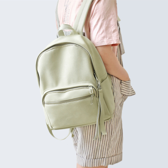 New POY small fresh shoulder bag girls art solid color leather backpack female version of student bag travel bag (Milk coffee color)