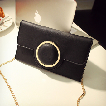 New style chain hand caught casual envelope bag clutch bag (Black)(Black)
