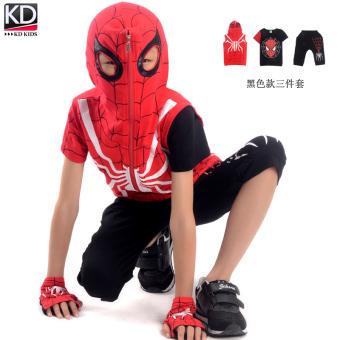 New style children's short sleeved Spider Man boy's summer (Black) (Black)