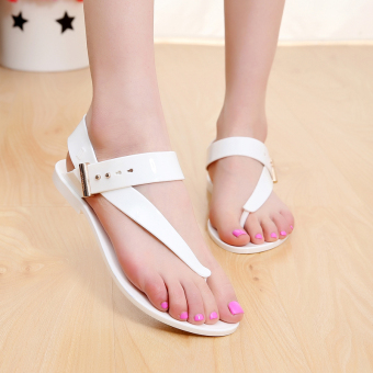 New style Crystal Flower sandals flip shoes (White) Price in Singapore