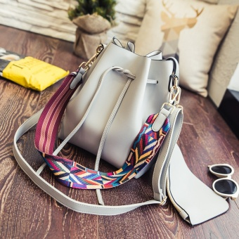 New style hit color strap Korean-style bucket bag (Gray)