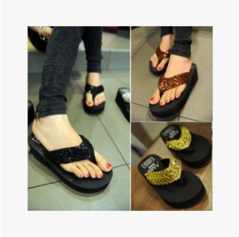New style Korean-style sequin thick bottomed muffin flip-flops sandals (Black)
