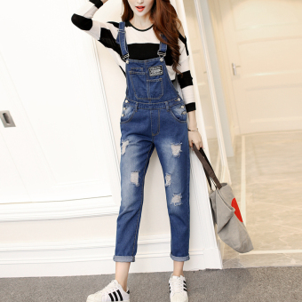 New style loose hole in nine points summer college style shoulder strap pants