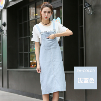 New style loose sling long section denim strap dress (Light blue)