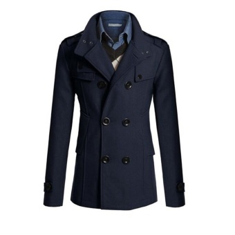 New Style Men Double Breasted Coat Fashion Winter Jacket Overcoat - intl