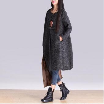 New Women Lady Plus Size Loose Wool Woolen Coats Winter WarmJackets Gray - 3