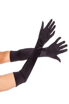 Okdeals Nice Satin Party Long Gloves Black