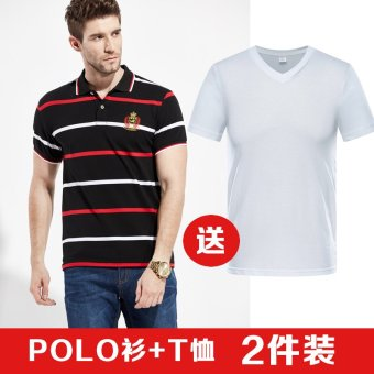 e4b1e63451a Paul striped polo shirt lapel men short sleeve tshirt loose large size  business casual middleaged father