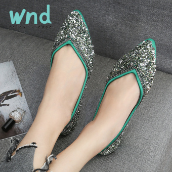 Peas Korean-style crystal spring and autumn New style pointed flat shoes (X1174 green)