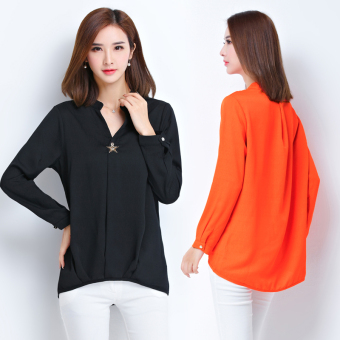 Plus-sized loose Slimming effect long-sleeved short-sleeved chiffonshirt (Black)