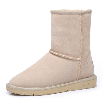 Plus velvet female Short Tube winter Leather short boots snowfield boots (Plus Velvet + Sand Color-tube)