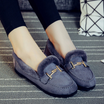 Plus velvet winter warm women's shoes moccosins (Gray)