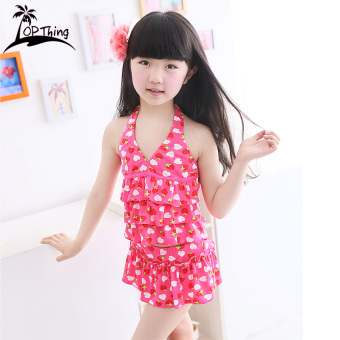 Princess children split skirt swimsuit girls swimsuit children's swimsuit (Strawberry Flower (red))