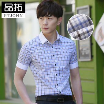 Product extension mercerized cotton summer men's plaid short sleeved shirt