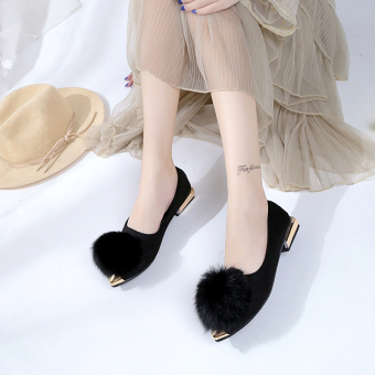 Qiudong Korean-style rabbit fur a pedal scoop shoes plush shoes (Black)