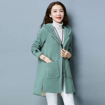 Qiudong Plus velvet female mid-length thick zip Top hooded hoodie (Green beans color)