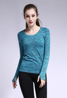 Qiudong Slim fit breathable quick-drying stretch fitness clothing long-sleeved Top (Dyed aqua blue)