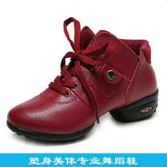 Qiudong soft bottom modern dance elevator square dance shoes mesh shoes (0029 red)