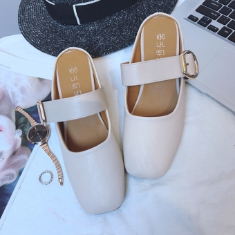 Retro flat head belt buckle grandmother shoes half slippers shoes(Beige)