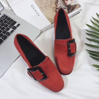 Retro woman's buckle square head semi-high heeled shoes autumn New style shoes (Red)