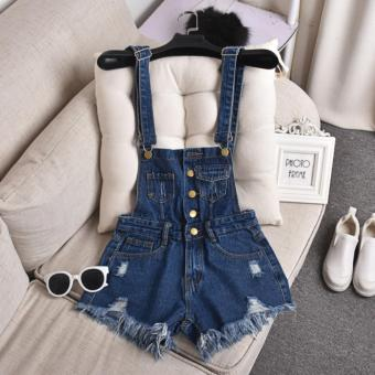 Denim Dungarees Ripped Shorts  Overalls  Rompers Size S to XL