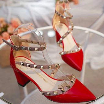 Riveted spring and pointed high-heeled shoes (Red)