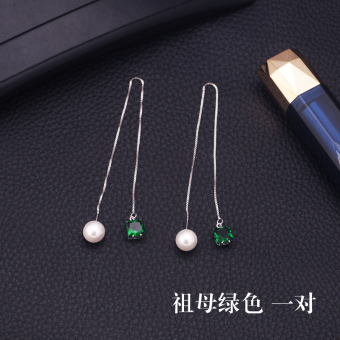 S925 simple silver anti-allergic elegant hanging earrings (Emerald green a pair of) (Emerald green a pair of)