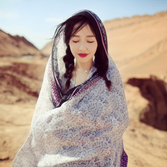 Scarf korean version of ms. long section of the summer tourist beach sunscreen scarf scarves oversized shawl scarf dual