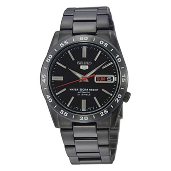 Seiko 5 Automatic Men's Black Stainless Steel Strap Watch SNKE03K1