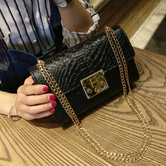 Serpentine small bag 2017 New style crocodile pattern chain bag buckle shoulder bag messenger bag handbag mini small square package