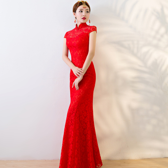 Harga Sexy red bride New style wedding cheongsam wedding dress