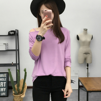 Harga Sexy round neck word collar long-sleeved t-shirt sexy sling (3001 6deep purple)