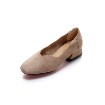 Shallow mouth flat to help low suede grandmother shoes Shoes squarehead (Beige) (Beige)
