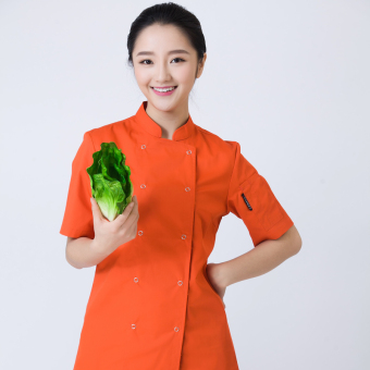 Harga Short sleeved summer for men and women dining work uniform chef clothes (Orange)