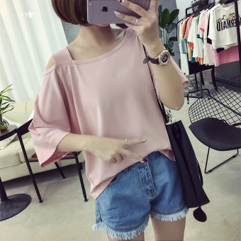 Short-sleeved t-shirt female V-neck Top Loose and plus-sized Slimming effect Korean-style New style summer student hollow solid color Short sleeve compassionate (727-Lotus pink)