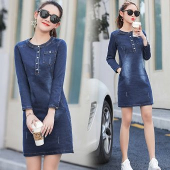 Slim fit Slimming effect long-sleeved long section denim dress New style denim dress