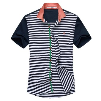 Slim fit striped Teenager Navy wind cotton short-sleeved shirt