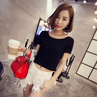 Slim fit waist small shirt round neck Striped short-sleeved t-shirt (Black)