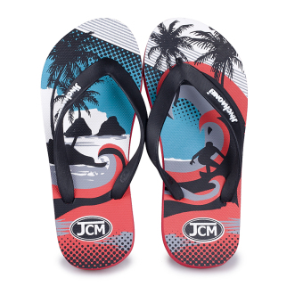 Slippers Men flip flops drag summer outdoor tide drag beach shoes non-slip wear and home bathroom shower sandals and slippers (303 red)