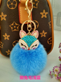 Small Fox pendant bag pendant plush diamond fox hair ball Korean bag key buckle chain creative Ornaments (Light blue)