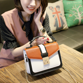 Small Square Korean-style contrasting color lock chain bag (Brown new upgrade chain) (Brown new upgrade chain)