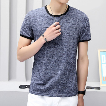 Solid color Slim fit Short sleeve base shirt T-shirt (Color Silk blue and gray)