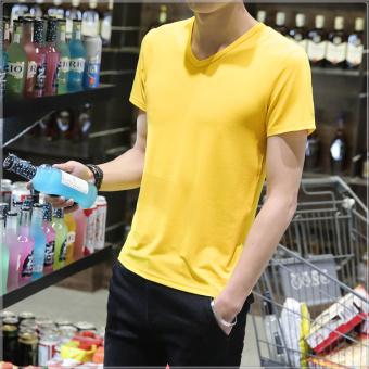 Solid color v-neck Plus-sized base shirt T-shirt (Yellow v-neck short sleeve) (Yellow v-neck short sleeve)