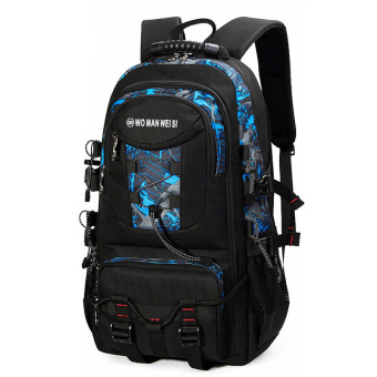 Sports men large capacity mountaineering bag backpack (478 blue-gray color)